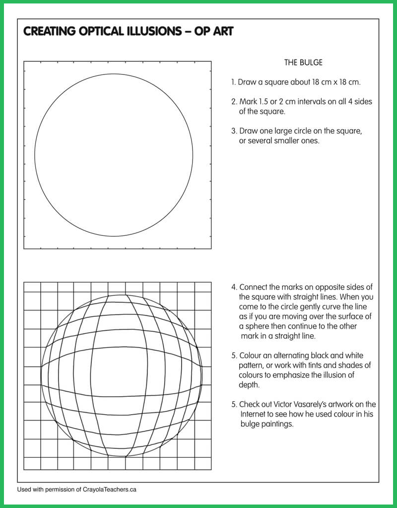 Worksheets Op Art Worksheet art worksheets crayola teachers optical illusion bulge