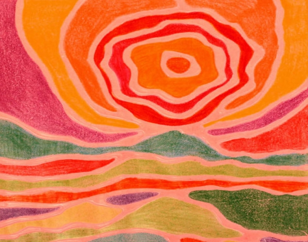 luscious landscapes art in the style of ted harrison crayola